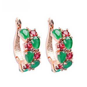 Arlecchino Piccolo - Colorful CZ Diamond Rose Gold Stud Earrings - LA MIA CARA JEWELRY - 7