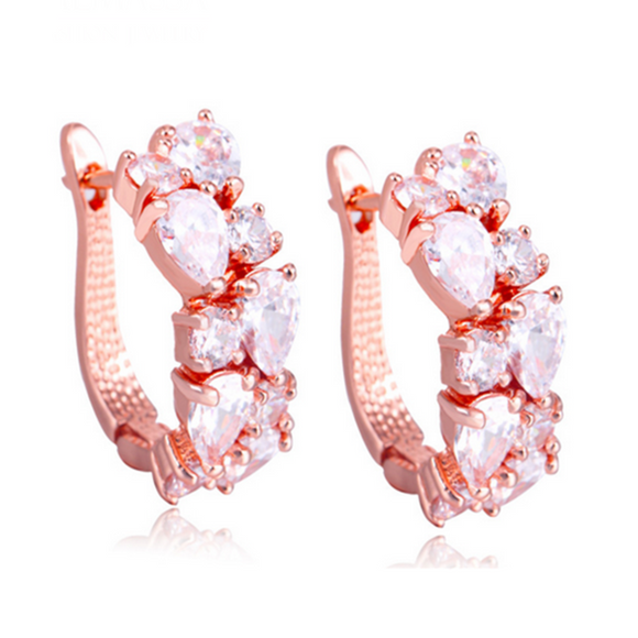 Arlecchino Piccolo - Colorful CZ Diamond Rose Gold Stud Earrings - LA MIA CARA JEWELRY - 8