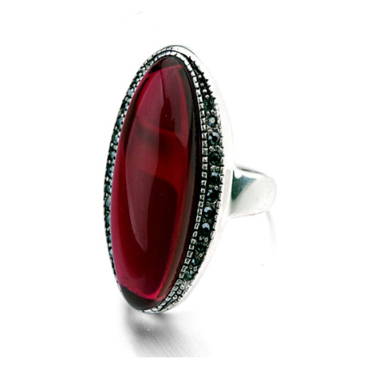 La Mia Cara Jewelry - Toscana Rosso - Red Semi-Precious Stone & Swarovski Crystal White Gold Cocktail Ring.