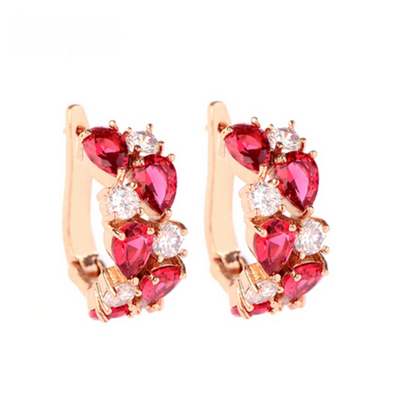 Arlecchino Piccolo - Colorful CZ Diamond Rose Gold Stud Earrings - LA MIA CARA JEWELRY - 9