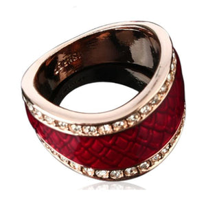 La Mia Cara Jewelry - Rafaela - Red Pattern Enamel & Swarovski Crystal Rose Gold Statement Ring