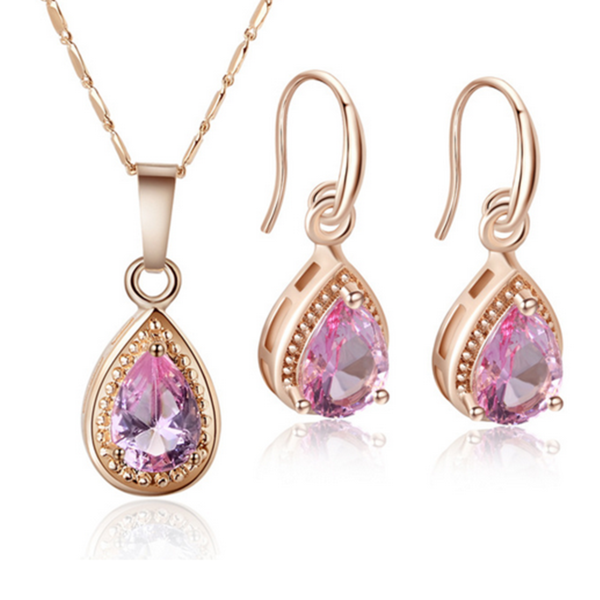 Aella -  Big Water Drop Crystal Rose Gold Necklace & Earrings Set - LA MIA CARA JEWELRY