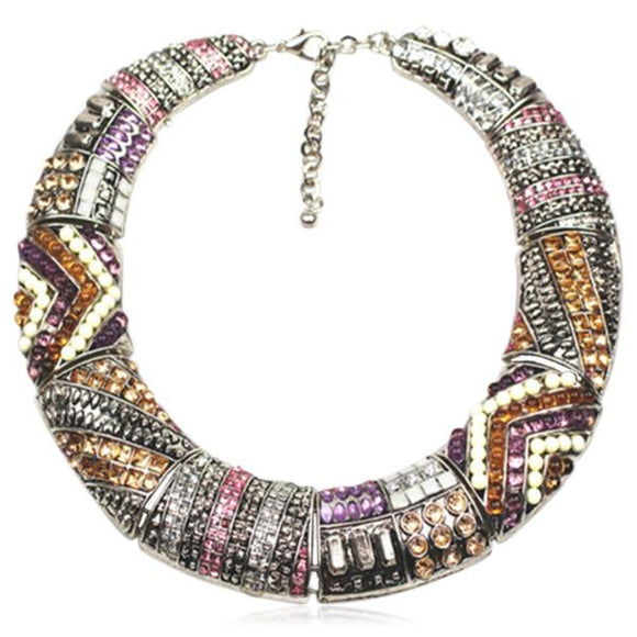 Aja - Metal Crystal Vintage Choker Gold / Silver Statement Necklaces - LA MIA CARA JEWELRY - 1