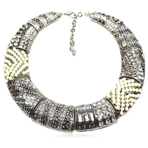 Aja - Metal Crystal Vintage Choker Gold / Silver Statement Necklaces - LA MIA CARA JEWELRY - 2