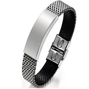 La Mia Cara  - Alessio - Black Leather and Stainless Steel Bracelet