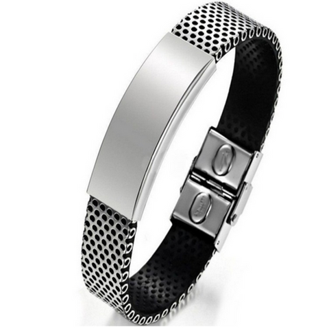 Alessio - Stainless Steel Silver & Black Leather Cuff Bracelet Men - LA MIA CARA JEWELRY