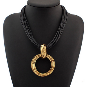 La Mia Cara Jewelry - Alia Ocho - Gold Leather Choker Statement Necklace