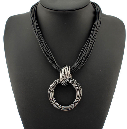 La Mia Cara Jewelry - Alia Ocho - Alia Ocho - Black Leather Choker Statement Necklace
