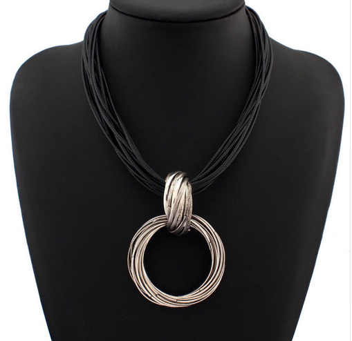 La Mia Cara Jewelry - Alia Ocho - Silver Leather Choker Statement Necklace