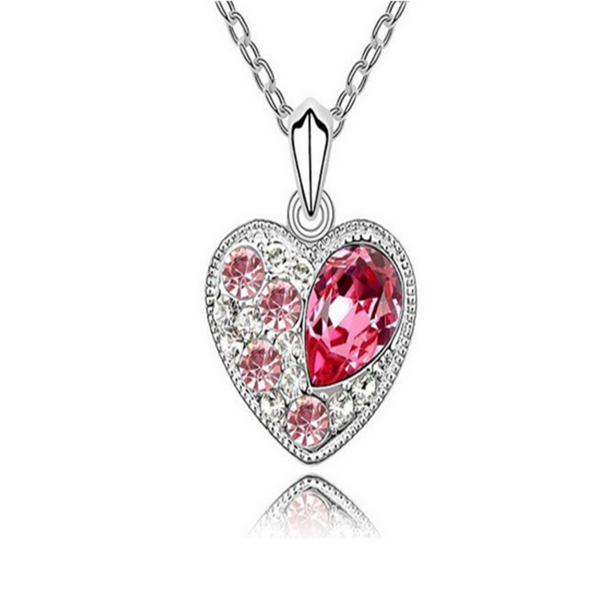 Alina - Pink Swarovski Crystal Heart White Gold Pendant Necklace - LA MIA CARA JEWELRY