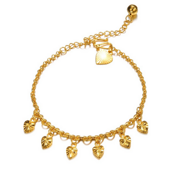 Amber -  Classic Heart Shape Gold Foot Anklet - LA MIA CARA JEWELRY