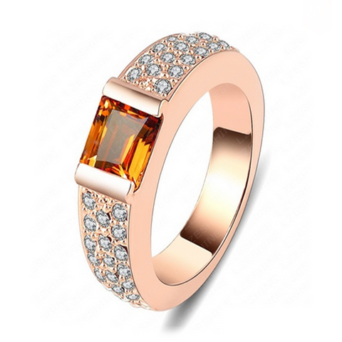 Ambra Grigia - Champagne - Orange CZ Diamond Rose Gold Engagement Ring - LA MIA CARA JEWELRY