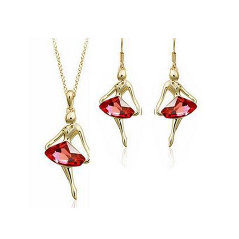 Amore Balletto - Crystals & Gold Necklace & Earrings Set - LA MIA CARA JEWELRY - 1