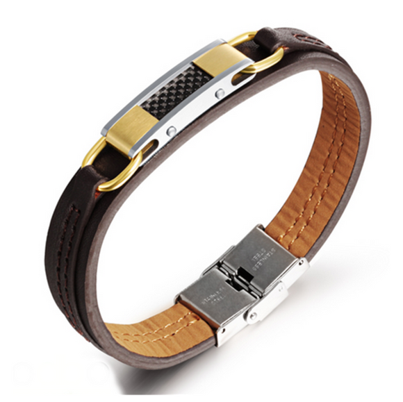 La Mia Cara Jewelry - Andro - Leather and Stainless Steel Bracelet