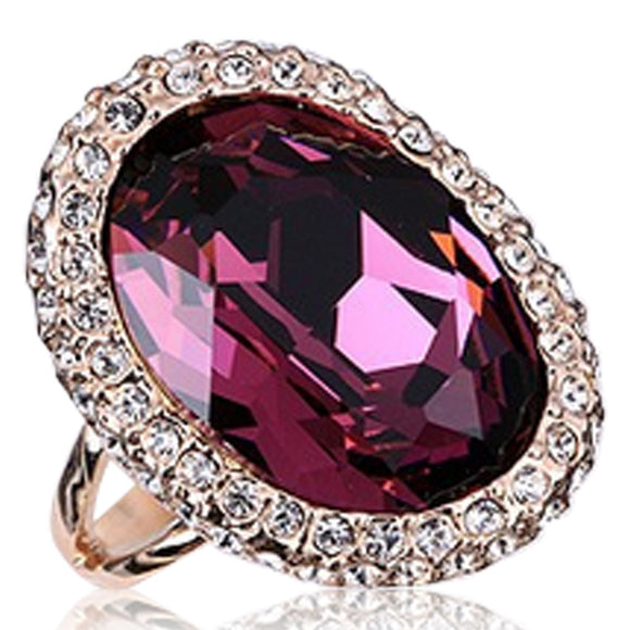 Cocktail Ring -Angelina - Amethyst with CZ Diamond  Rose Gold - LA MIA CARA JEWELRY