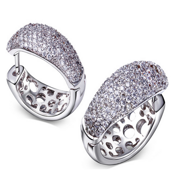 Antonella - CZ Diamonds Platinum Circle Hoop Earrings - LA MIA CARA JEWELRY