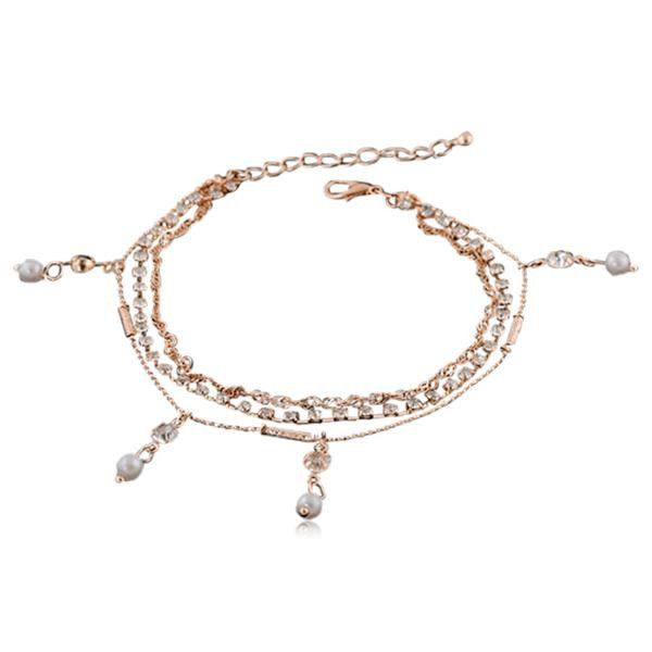 Aphrodite - Crystal & Pearls Rose Gold Anklet - LA MIA CARA JEWELRY