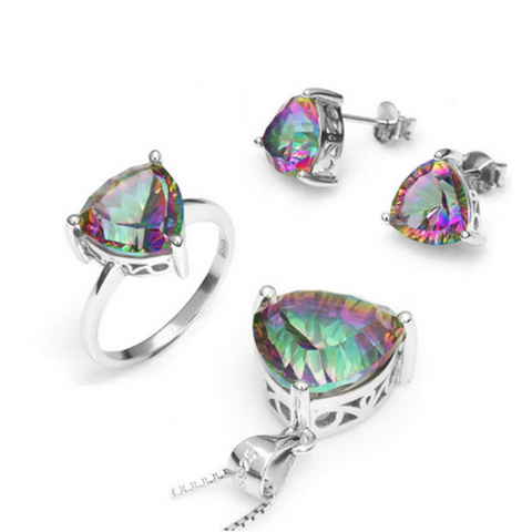 Arco Iris - Triangle Mystic Topaz & Sterling Silver Ring & Pendant & Earrings Set - LA MIA CARA JEWELRY