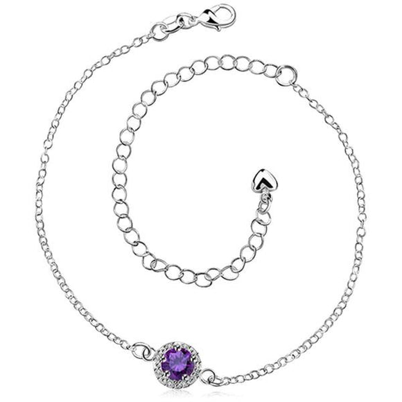 Ariane -  Purple Crystal Sterling Silver Anklet - LA MIA CARA JEWELRY