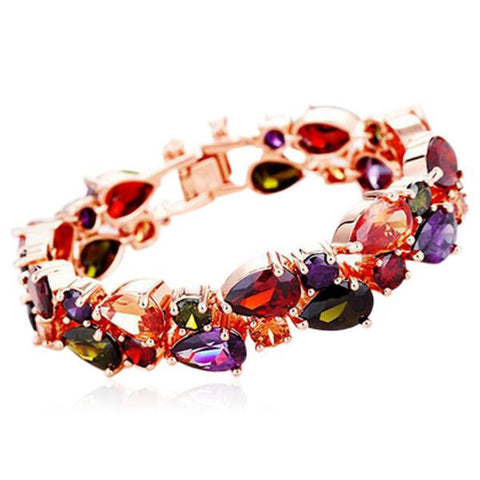 Arlecchino - Colorful CZ Diamond Gold Bracelet - LA MIA CARA JEWELRY - 1