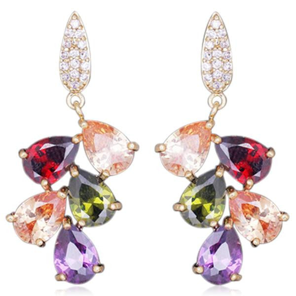 Arlecchino - Colorful CZ Diamond Rose Gold Drop Earrings - LA MIA CARA JEWELRY