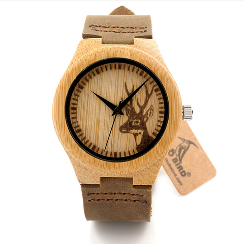 Bamboo Watches -Alfio - Wood Bamboo with Antler Design Leather Wristwatch - LA MIA CARA JEWELRY