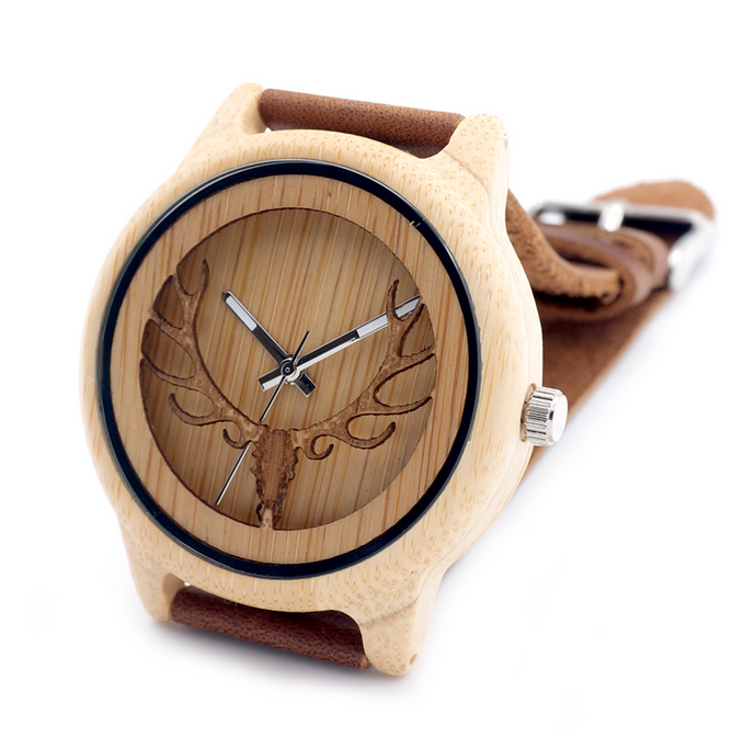 Men Watches -Wood Bamboo with Deer Head Leather Wristwatch - LA MIA CARA JEWELRY