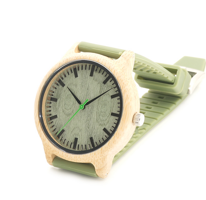 Bamboo Watches -Adalberto - Green Wood Bamboo  Soft Silicone Band Quartz Watches - LA MIA CARA JEWELRY