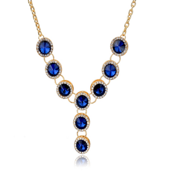 Azzurra - CZ Sapphire Gold Chain Collar Necklace - LA MIA CARA JEWELRY