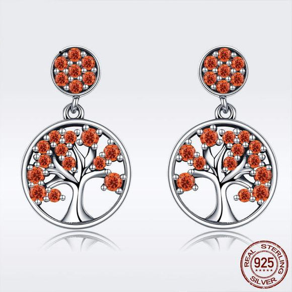 LA MIA CARA JEWELRY - Cosmic - 925 Sterling Silver Tree of Life Orange CZ Stud Earrings