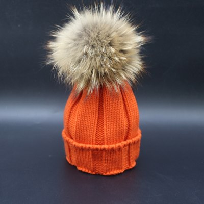 LA MIA CARA - CAPPELLI INVERNALI - ORANGE POM POM WINTER HAT WOMAN