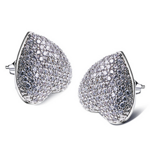 Bella - CZ Diamond Platinum Heart Shaped Stud Earrings - LA MIA CARA JEWELRY