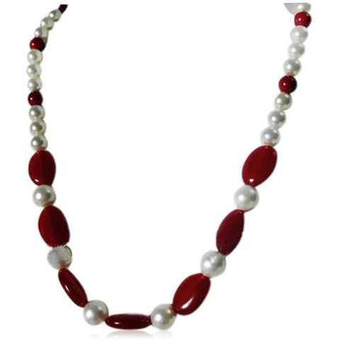 Bellissima - White Pearls & Red Ruby Jade Necklace - LA MIA CARA JEWELRY