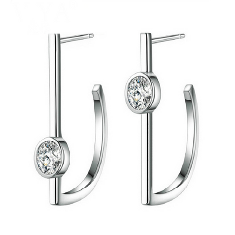 Benita - CZ Diamond Sterling Silver Stud Earrings - LA MIA CARA JEWELRY