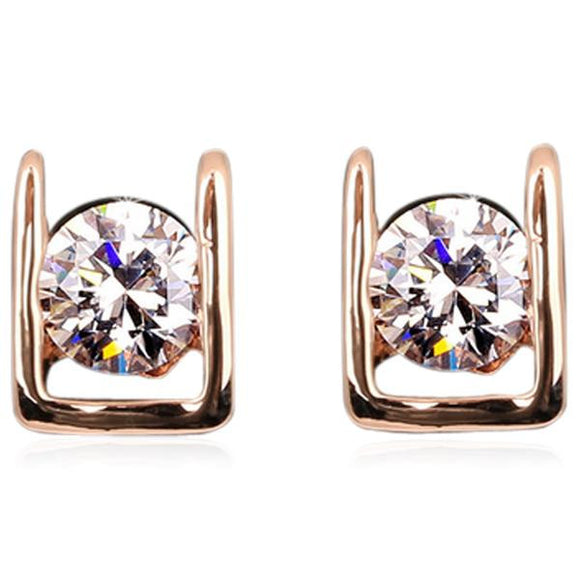 Bianca - CZ Diamond Rose Gold / Platinum Stud Earrings - LA MIA CARA JEWELRY - 1