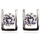 Bianca - CZ Diamond Rose Gold / Platinum Stud Earrings - LA MIA CARA JEWELRY - 2