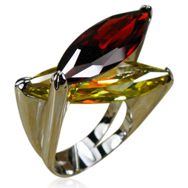 Cocktail Ring - Bjonda - Garnet & Citrine Silver  - LA MIA CARA JEWELRY