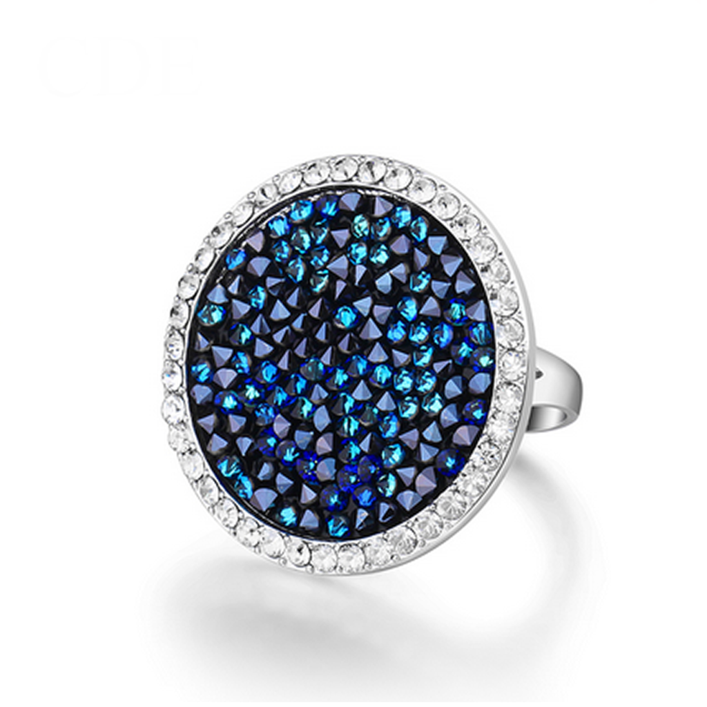 Blue Rainbow - Swarovski Silver Cocktail Ring - LA MIA CARA JEWELRY