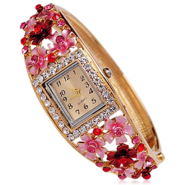 Bouquet Di Fiori - Rhinestone Gold Bracelet Bangle Watch - LA MIA CARA JEWELRY - 3