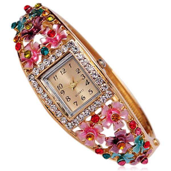 Bouquet Di Fiori - Rhinestone Gold Bracelet Bangle Watch - LA MIA CARA JEWELRY - 1
