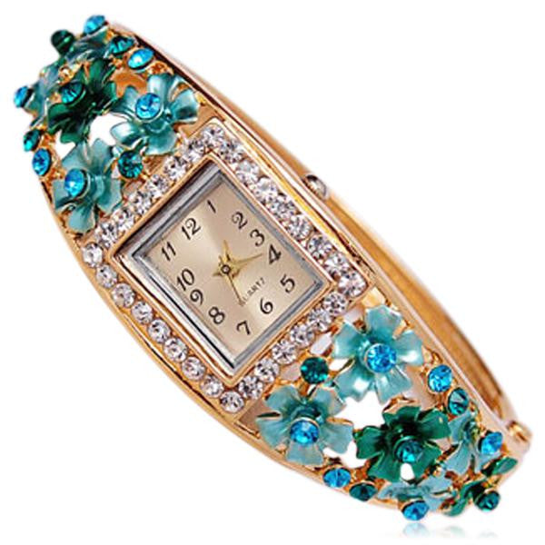 Bouquet Di Fiori - Rhinestone Gold Bracelet Bangle Watch - LA MIA CARA JEWELRY - 2