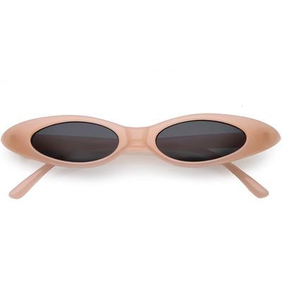La Mia Cara - SYDNEY - PINK RETRO 90'S ULTRA THIN SHALLOW OVAL CAT EYE SUNGLASSES