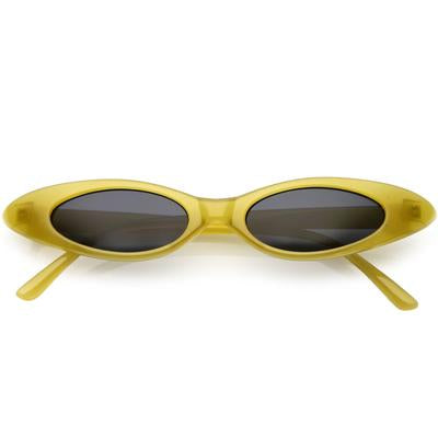 SYDNEY - YELLOW RETRO 90'S ULTRA THIN SHALLOW OVAL CAT EYE SUNGLASSES