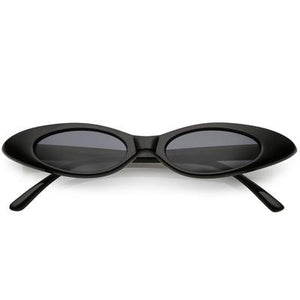 La Mia Cara  - SYDNEY - BLACK RETRO 90'S ULTRA THIN SHALLOW OVAL CAT EYE SUNGLASSES