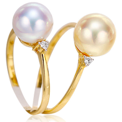 Solitaire Ring -Perla Caciopée - Akoya Pearl Diamond Yellow Gold Ring - LA MIA CARA JEWELRY
