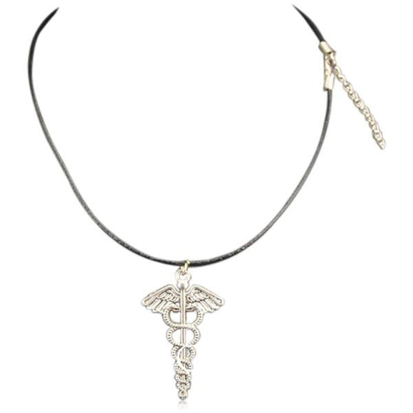 Caduceus - Caduceus Symbol of Alchemy Vintage Silver Leather Necklace - LA MIA CARA JEWELRY