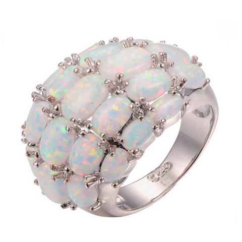 Cocktail Ring - Calypso - White Fire Opal Silver - LA MIA CARA JEWELRY