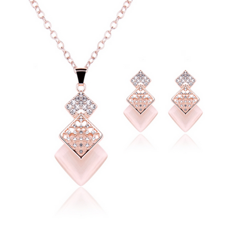 Caramella - Pink Square Crystal Rose Gold Pendant Necklace & Earrings Set - LA MIA CARA JEWELRY