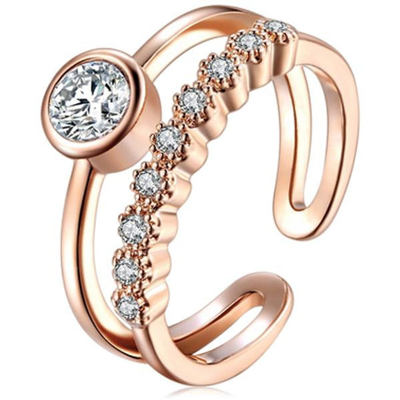 Caramia - CZ Diamond Rose Gold / Silver Toe Ring - LA MIA CARA JEWELRY - 1