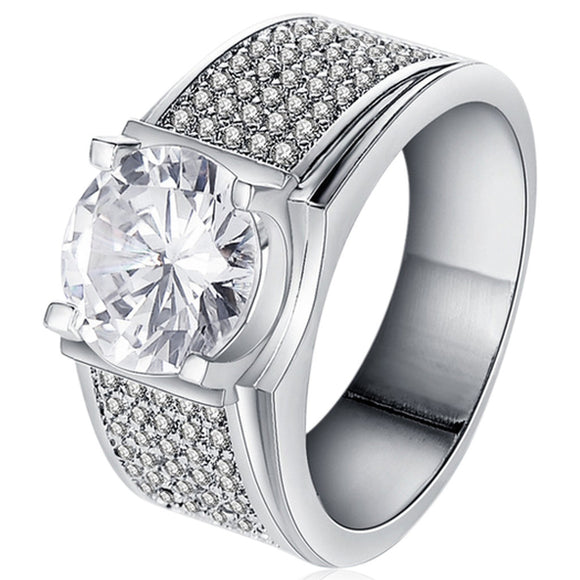 Men's Jewelry -Carino - CZ Diamond  Platinum Ring - LA MIA CARA JEWELRY